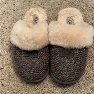 Grey Knitted Ugg Slippers